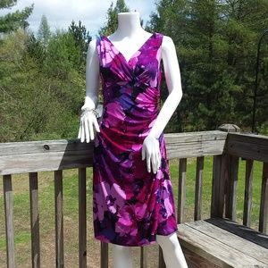 # 0207  Purple Floral Fitted Dress